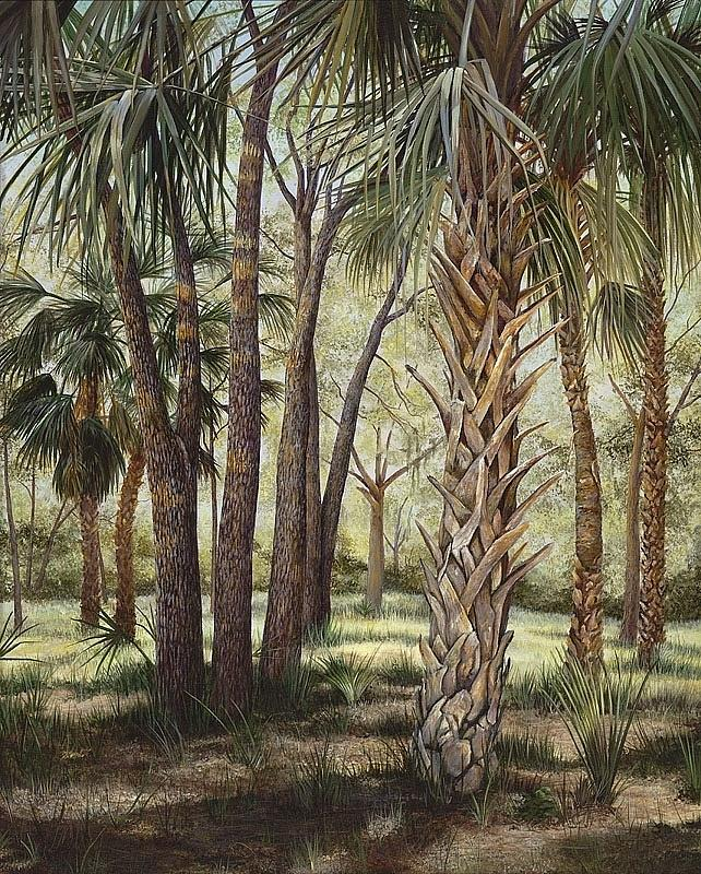 Cabbage Palms Painting - Tropical Trails End by AnnaJo Vahle