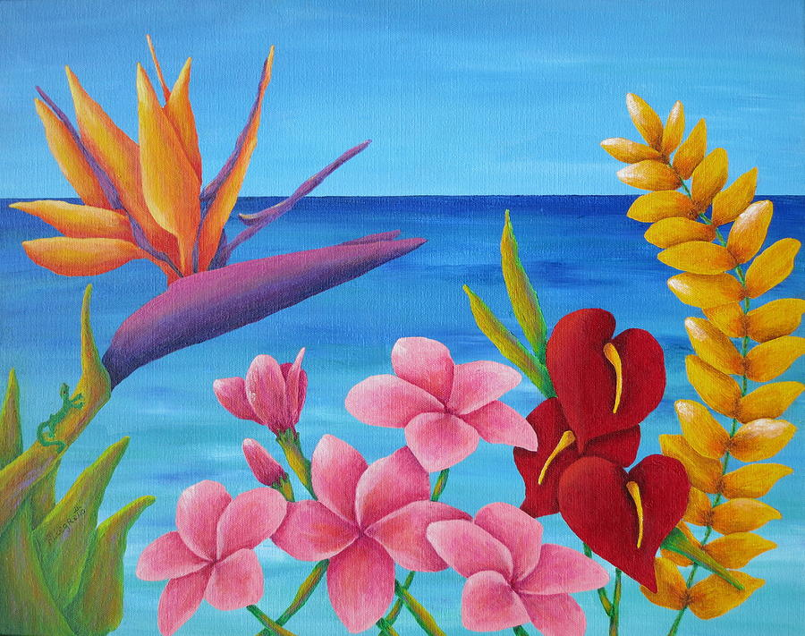 Allegretto Painting - Tropical View by Pamela Allegretto