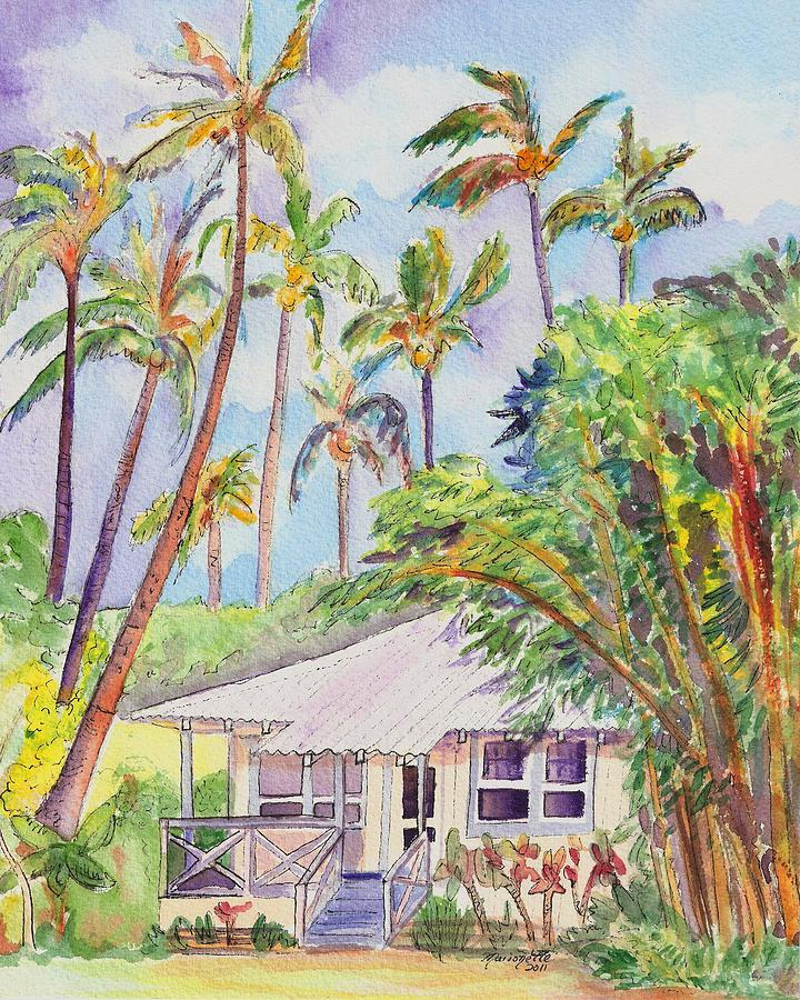 Kauai Painting - Tropical Waimea Cottage by Marionette Taboniar