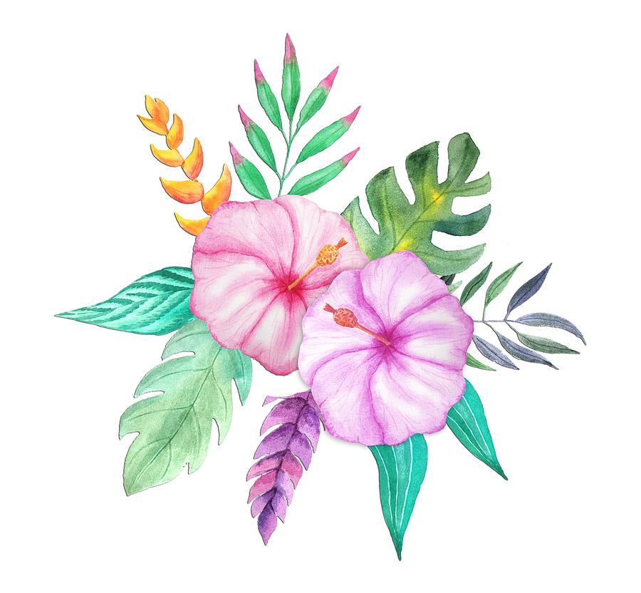 Tropical Watercolor Bouquet 78 Painting by Elaine Plesser