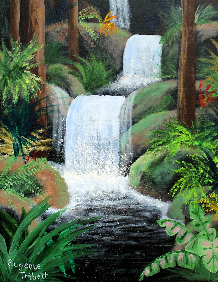 Tropical Waterfall Painting By Eugenia Tribett