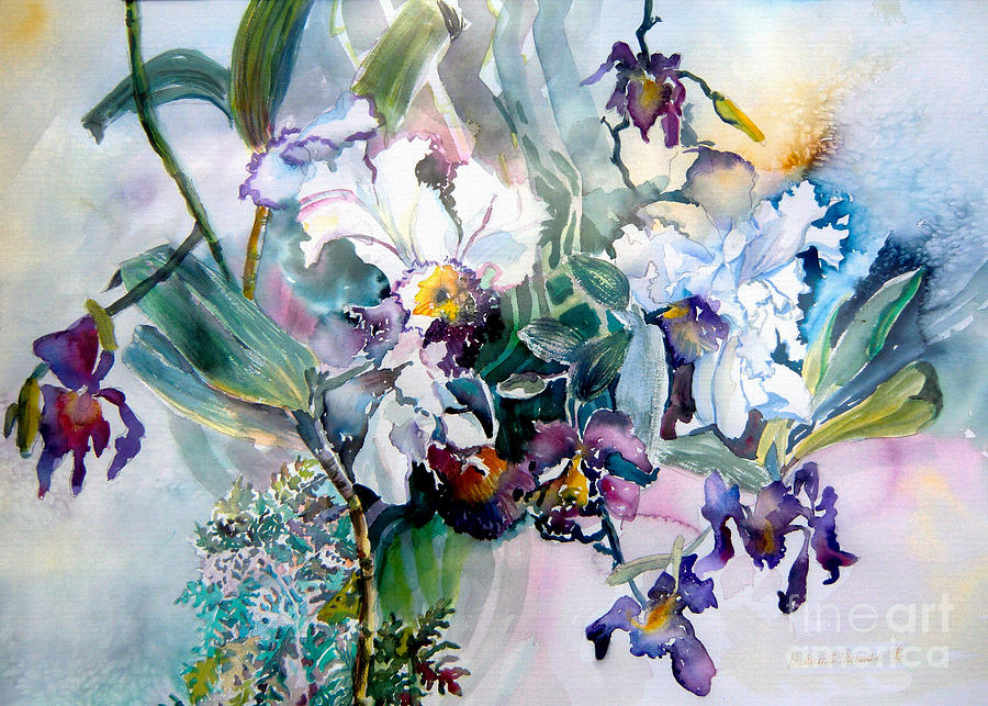 Orchids Painting - Tropical White Orchids by Mindy Newman