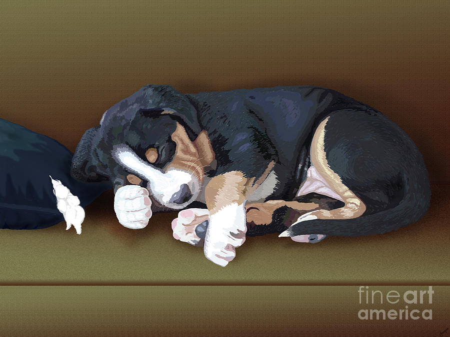 Dog Painting - Trouble by Jacqueline Barden