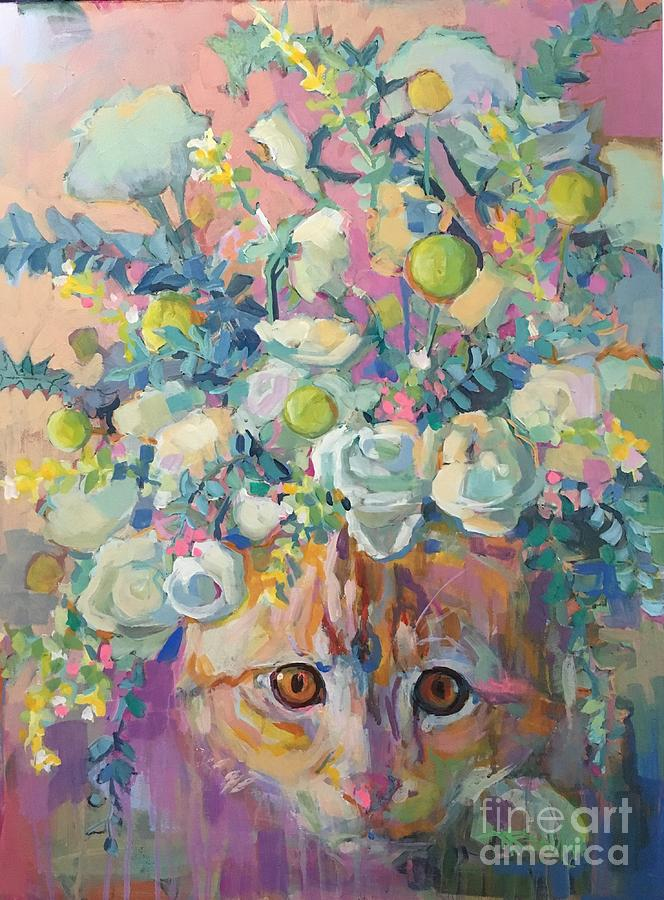 Kitten Painting - Trouble by Kimberly Santini