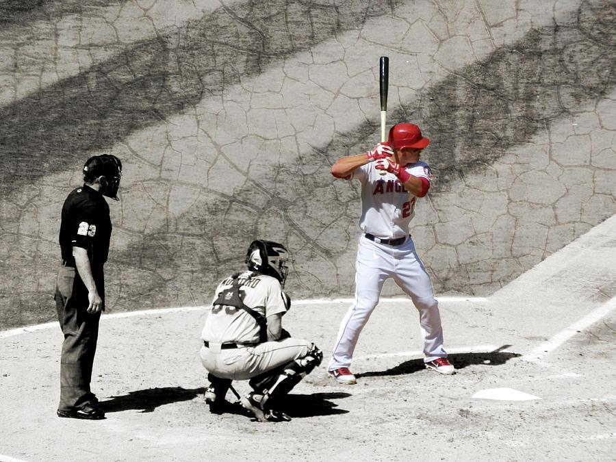 Baseball Photograph - Trout At Bat by Robert Ball