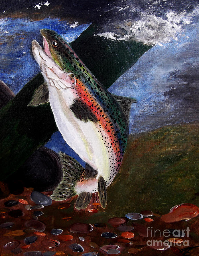 Trout Fishing Painting - Trout Bedding by Ayasha Loya