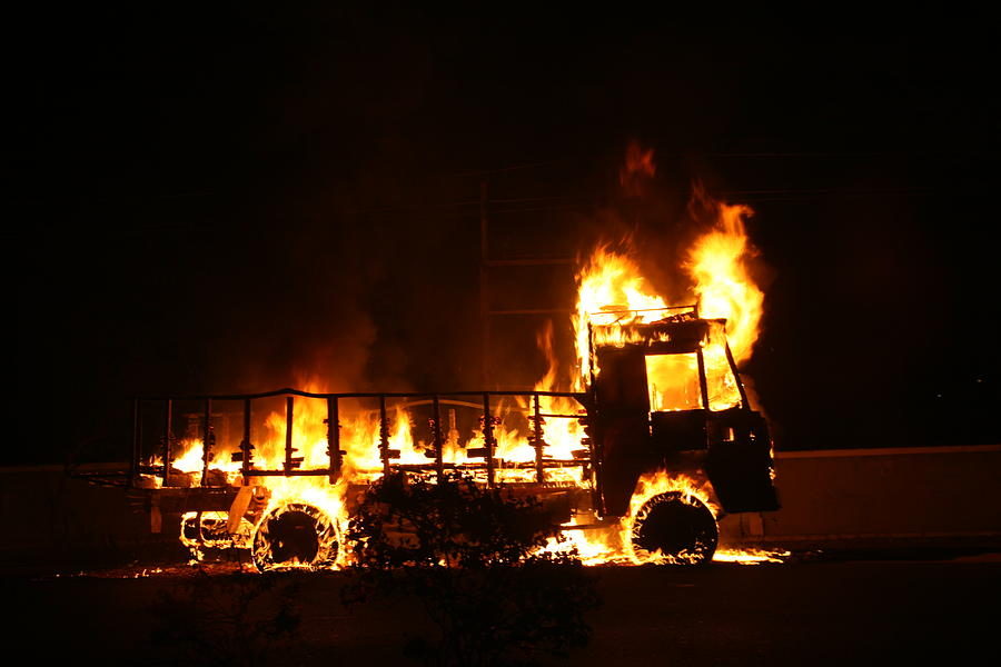 Fire Photograph - Truck On Fire by Deepak Pawar