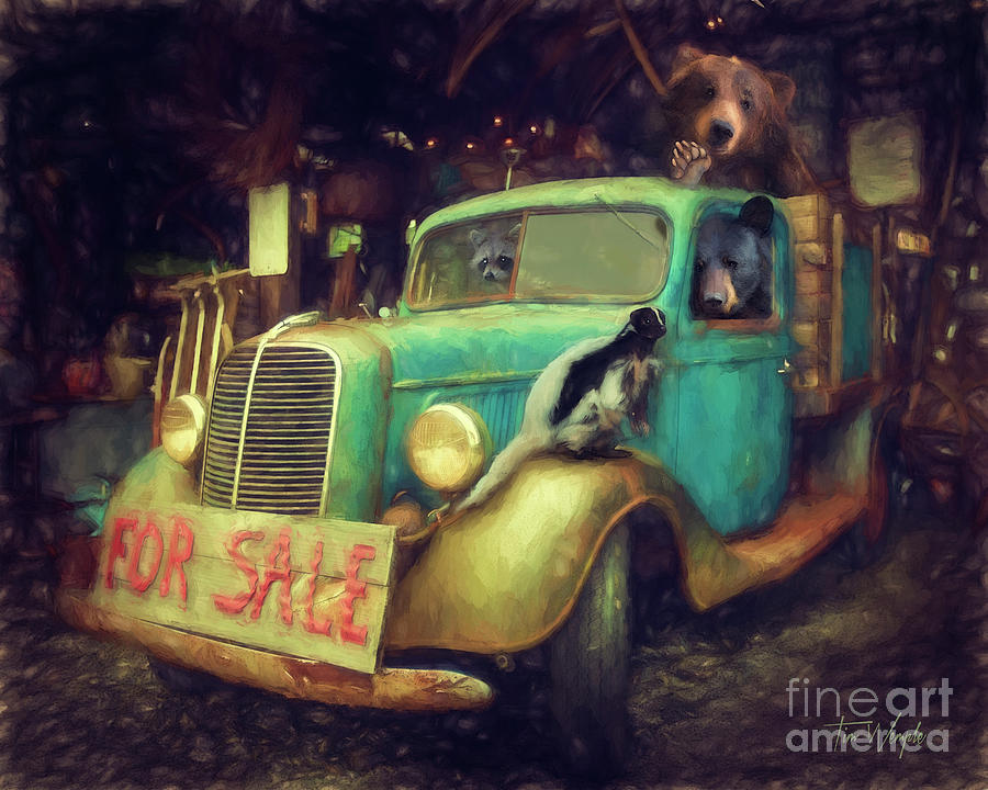 Raccoon Digital Art - Truck Sale by Tim Wemple