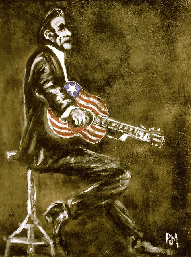 Johnny Cash Painting - True American by Pete Maier