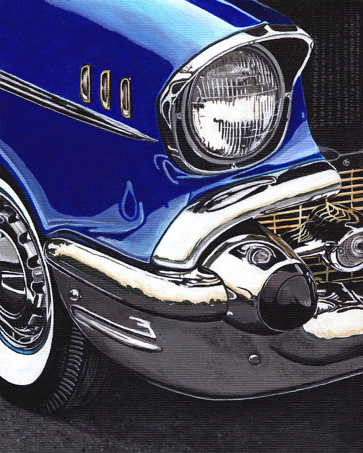 Cars Painting - True Blue 57 by Daniel Carvalho