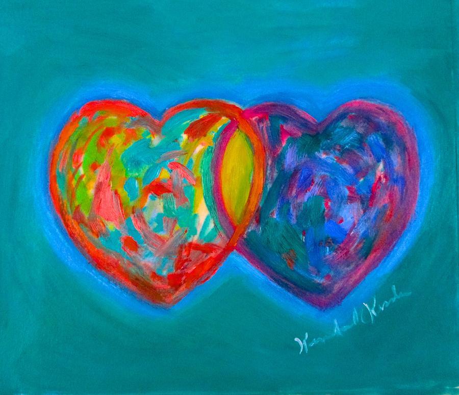 Heart Painting - True Blue Hearts by Kendall Kessler