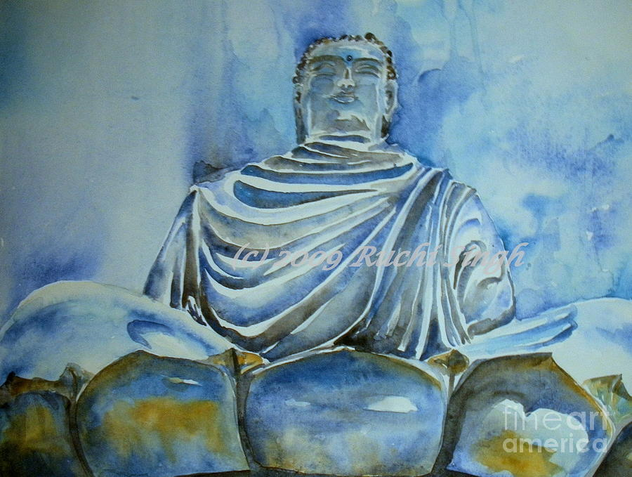 Buddha Painting - True Blue by Ruchi Singh