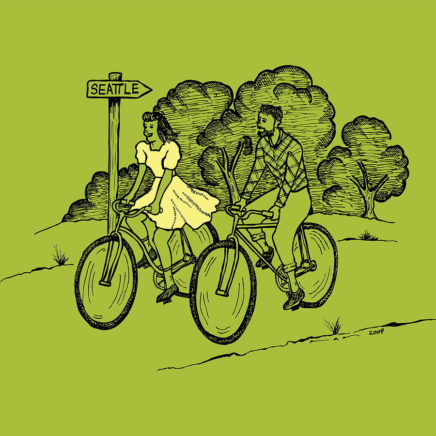 Bike Drawing - True Romance Bike Ride by Karl Addison