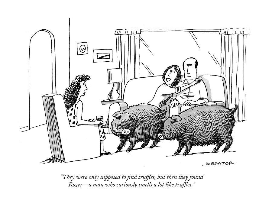 Truffle Hogs Drawing by Joe Dator