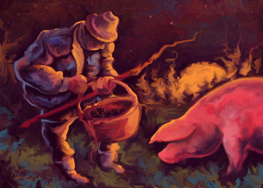 Food Painting - Truffles in the Night by Hans Neuhart