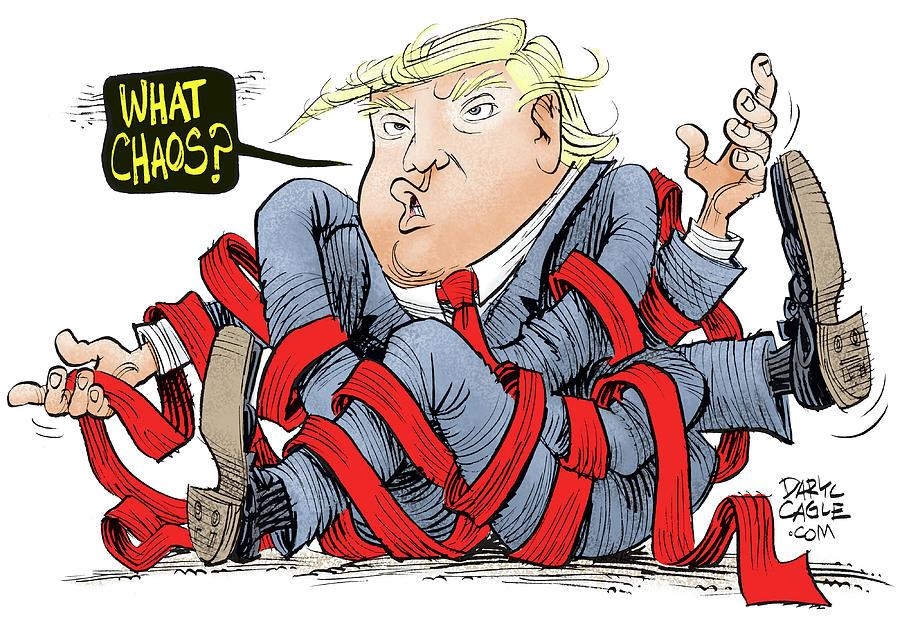 Donald Trump Drawing - Trump Chaos by Daryl Cagle
