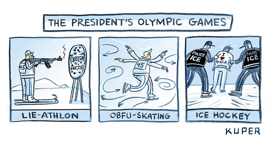 Trump Olympic Games Drawing by Peter Kuper