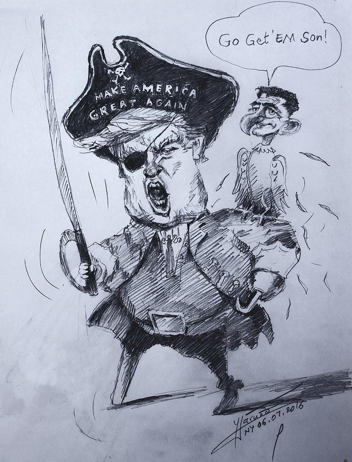 Trump Drawing - Trump, Short Fingers Pirate With Ryan, The Bird  by Ylli Haruni