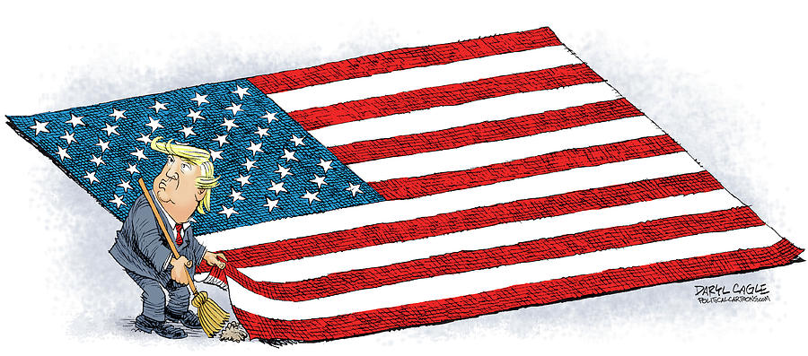 Trump Sweeps Under the Flag Rug by Daryl Cagle