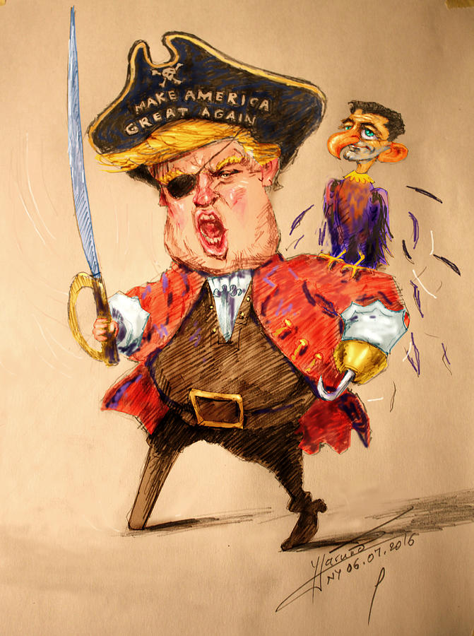 Donald Trump Painting - Trump, The Short Fingers Pirate With Ryan, The Bird by Ylli Haruni