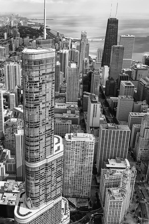 3scape Photograph - Trump Tower And John Hancock Aerial Black And White by Adam Romanowicz