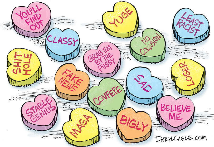 Valentines Day Drawing - Trump Valentines Candy UNCENSORED by Daryl Cagle