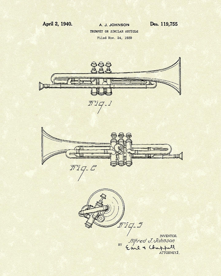 Johnson Drawing - Trumpet 1940 Patent Art by Prior Art Design