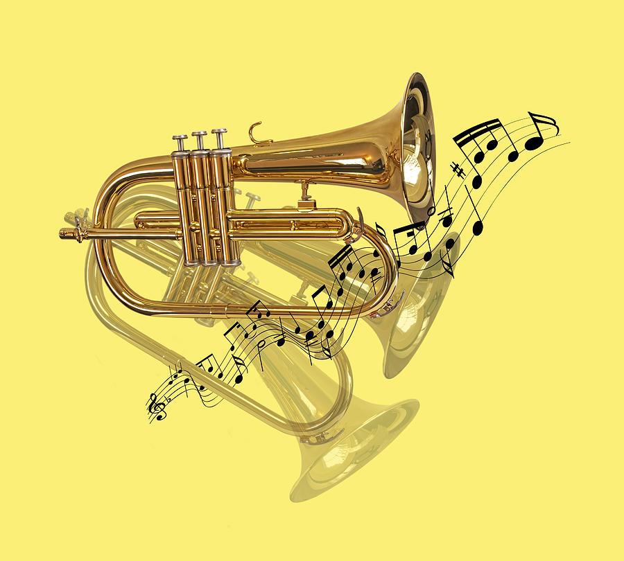 Music Photograph - Trumpet Fanfare by Gill Billington