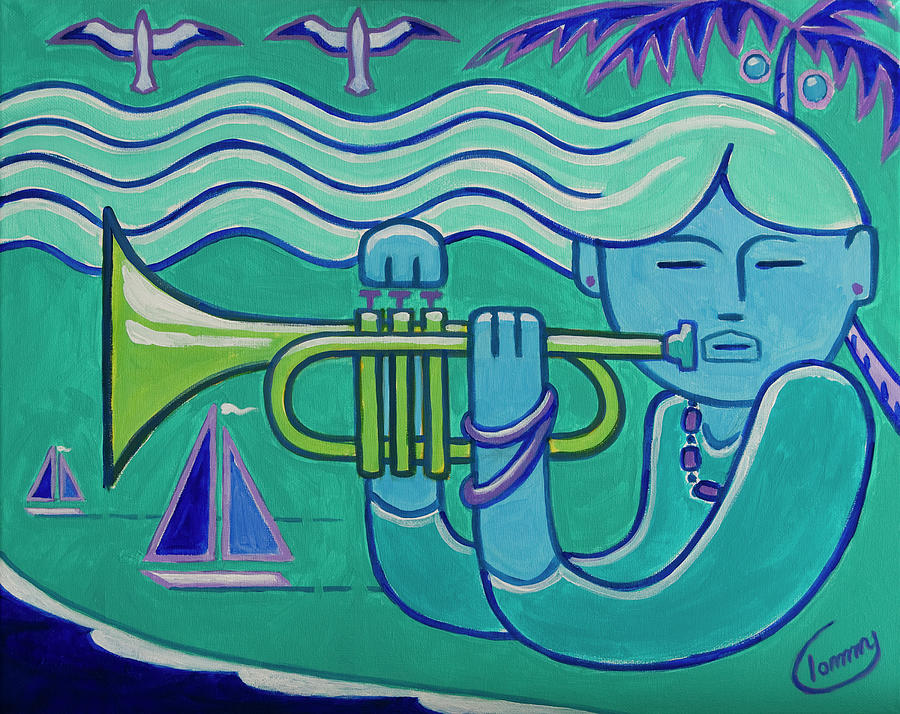 Trumpet Painting - Trumpet Girl by Tommy Midyette