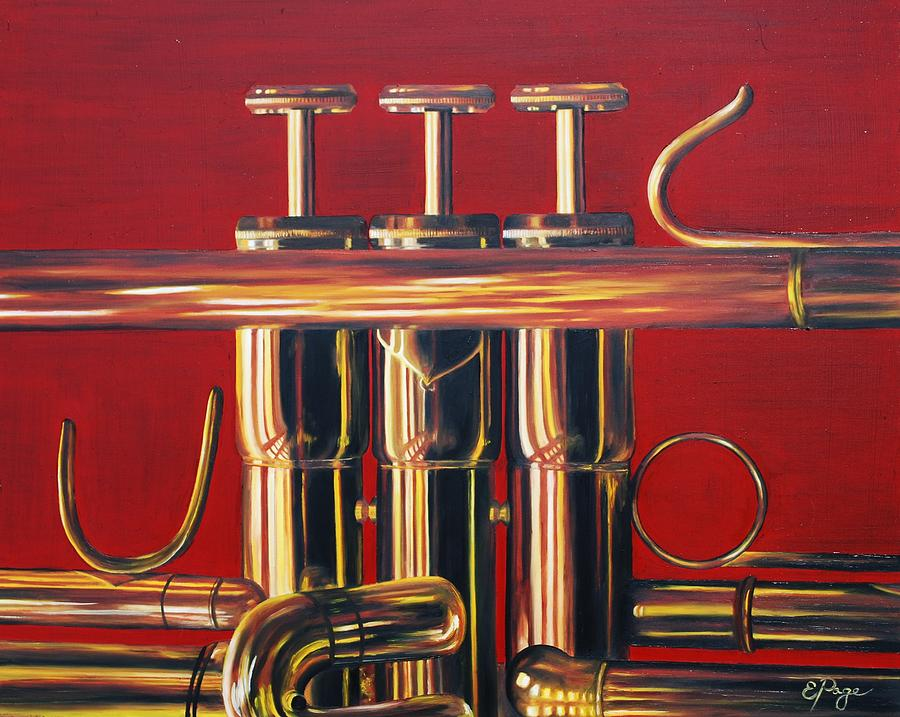 Trumpet Painting - Trumpet in Red by Emily Page