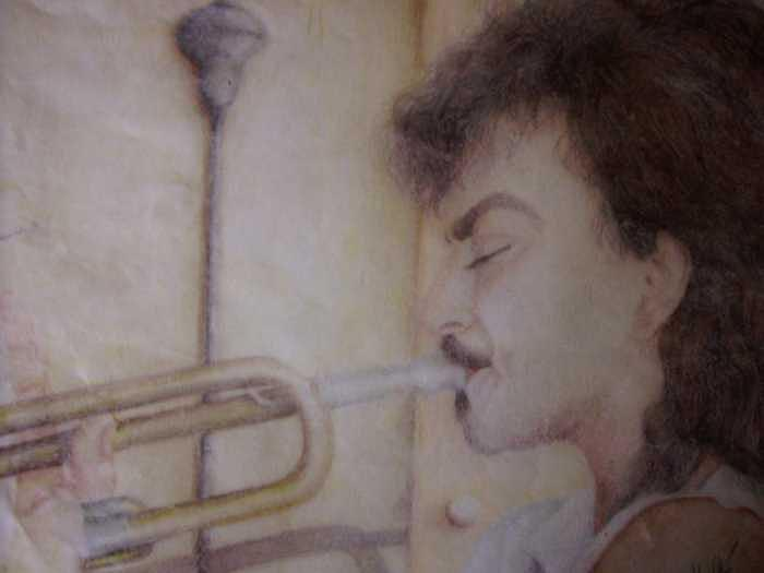 John Fumo Drawing - Trumpet Man by Janet Gioffre Harrington