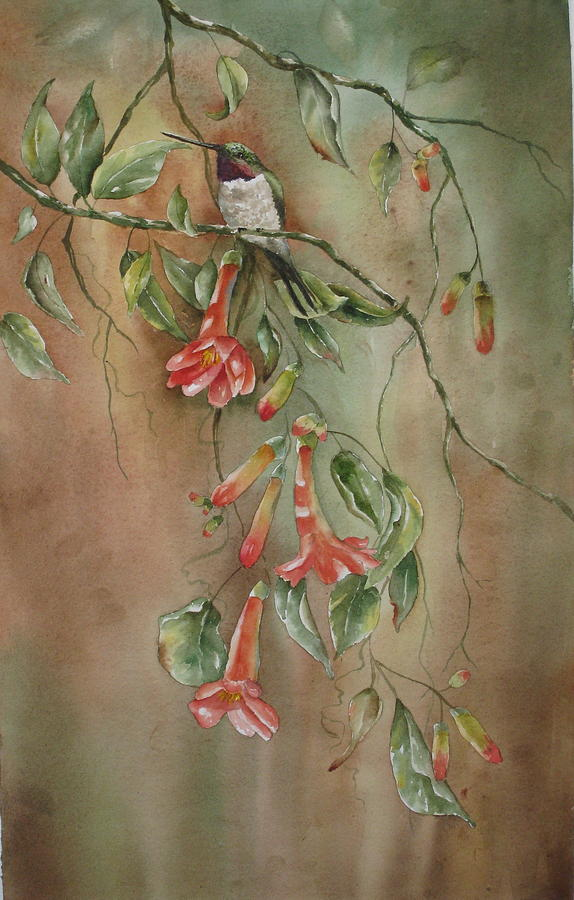 Hummingbird Painting - Trumpet Nectar by Mary McCullah