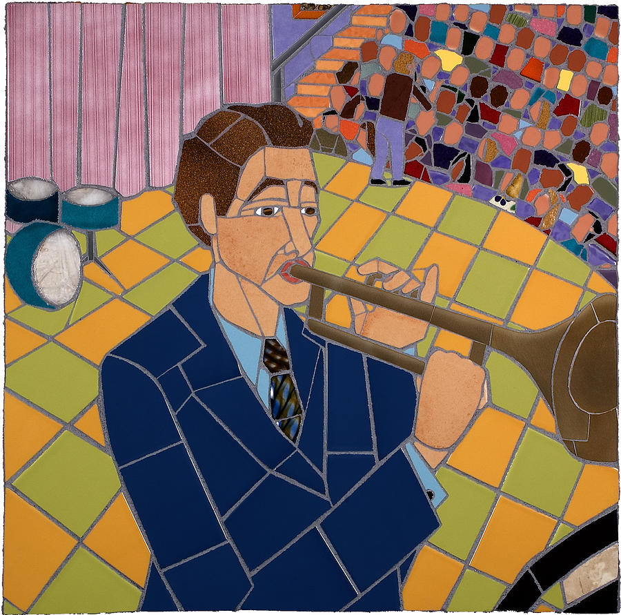 Mosaic Ceramic Art - Trumpet Player by Jonathan Mandell