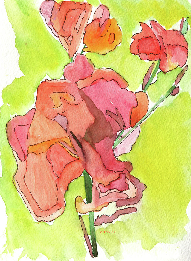Trumpet vine blossom Painting by Maura Satchell