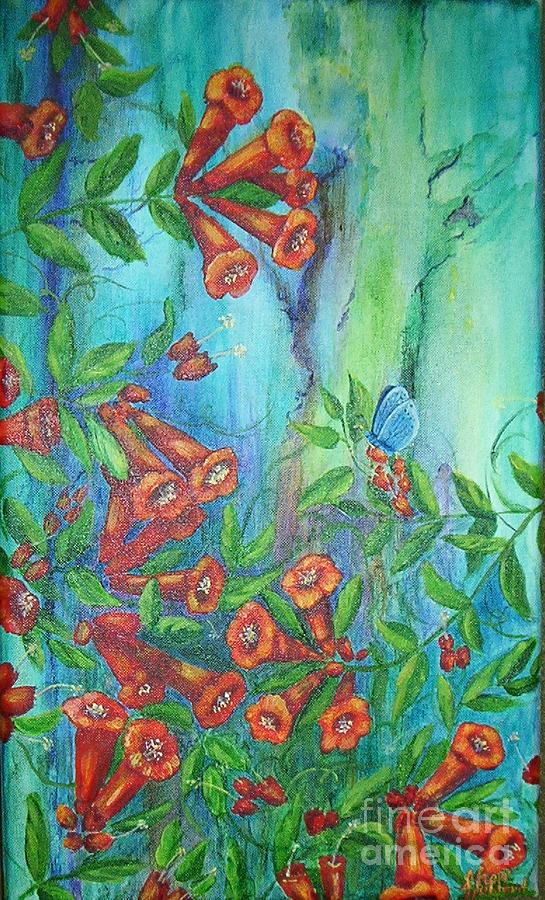 Trumpet Painting - Trumpet Vine With Butterfly by Sheri Hubbard