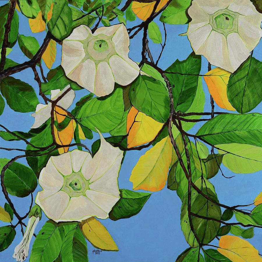 Angel Trumpet Painting - Trumpets In Paradise by Pamela Trueblood