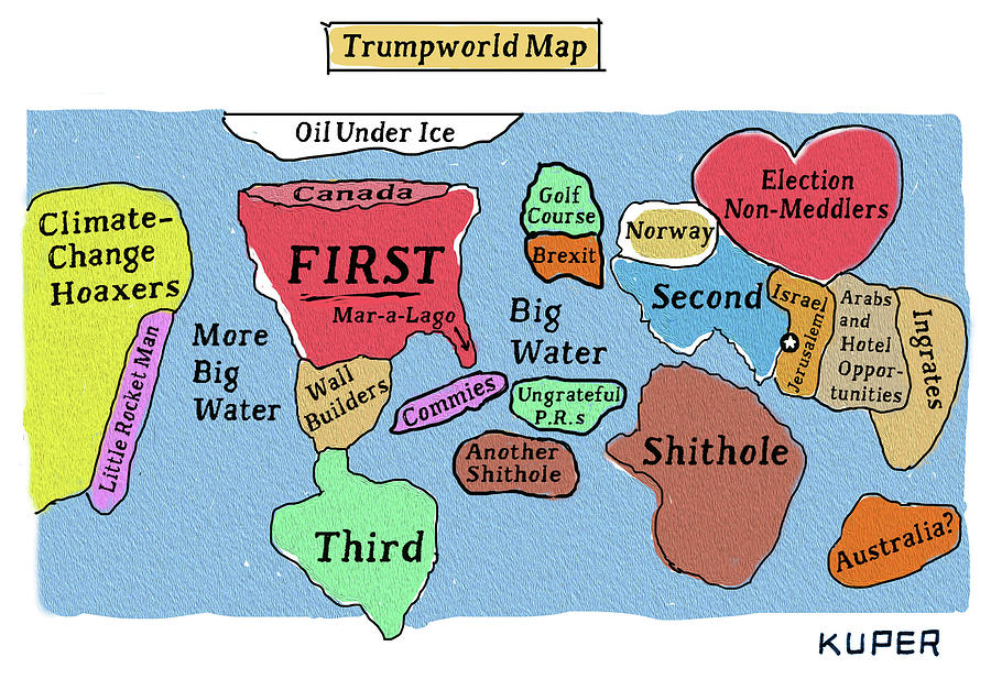 Trumpworld Map Drawing by Peter Kuper