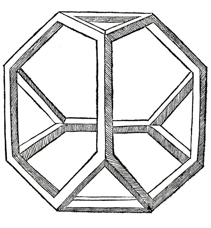 Tetrahedron Drawing - Truncated Tetrahedron With Open Faces  Tetraedron Abscisum Vacuum by Leonardo da Vinci