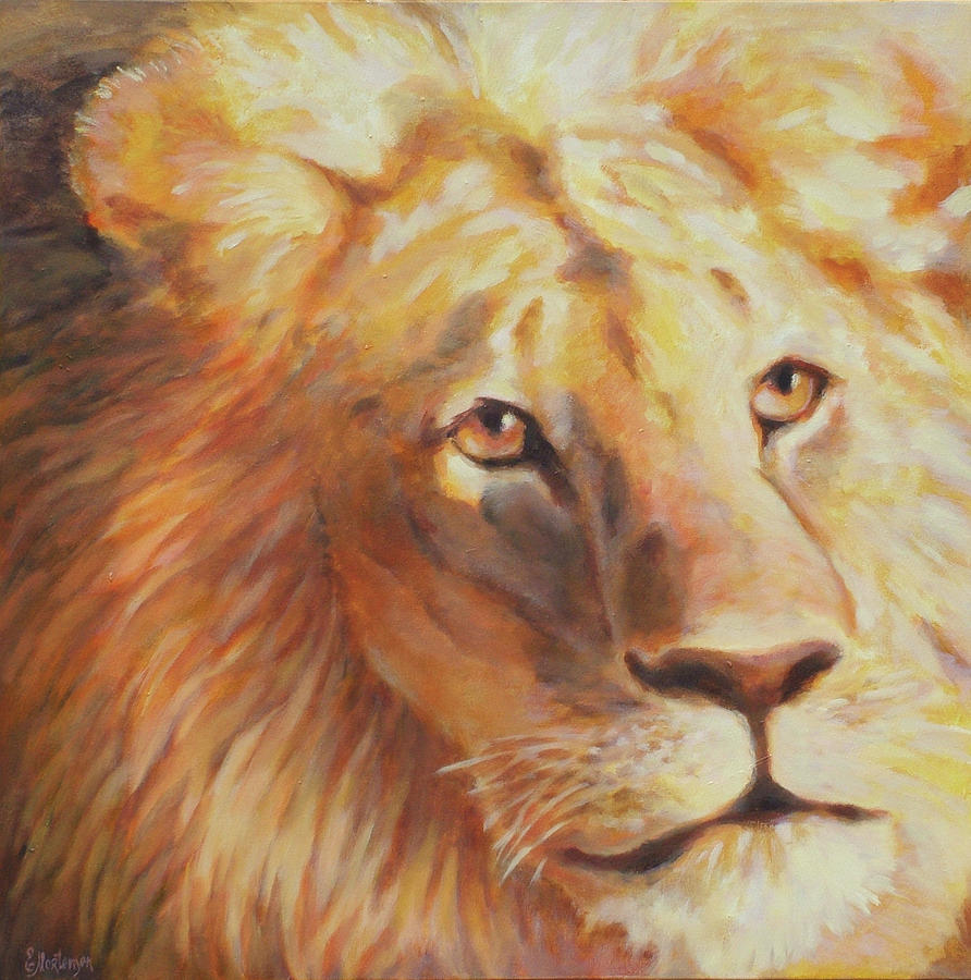 Lion Painting - Trust Betrayed by Ekaterina Mortensen