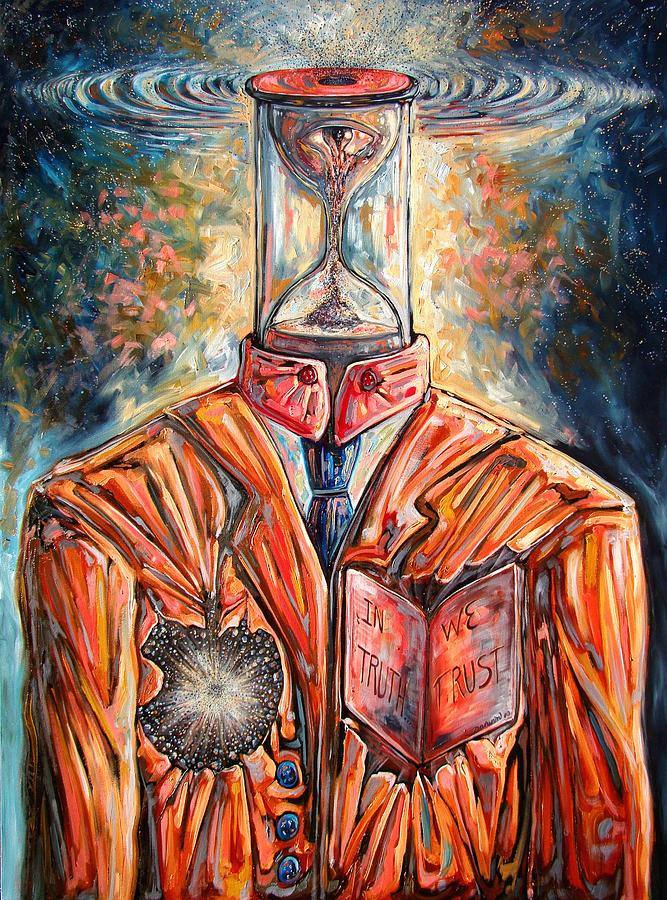 New Age Painting - Truth Running Out Of Time by Darwin Leon