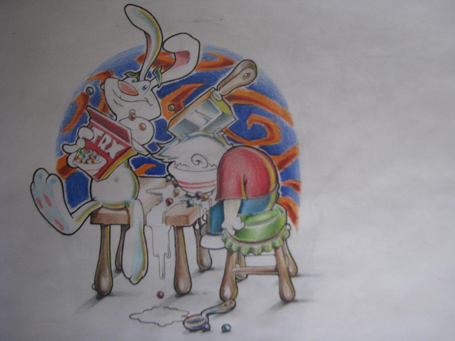 Trix Rabbit Drawing - Trx Are For Who by Jared Rice