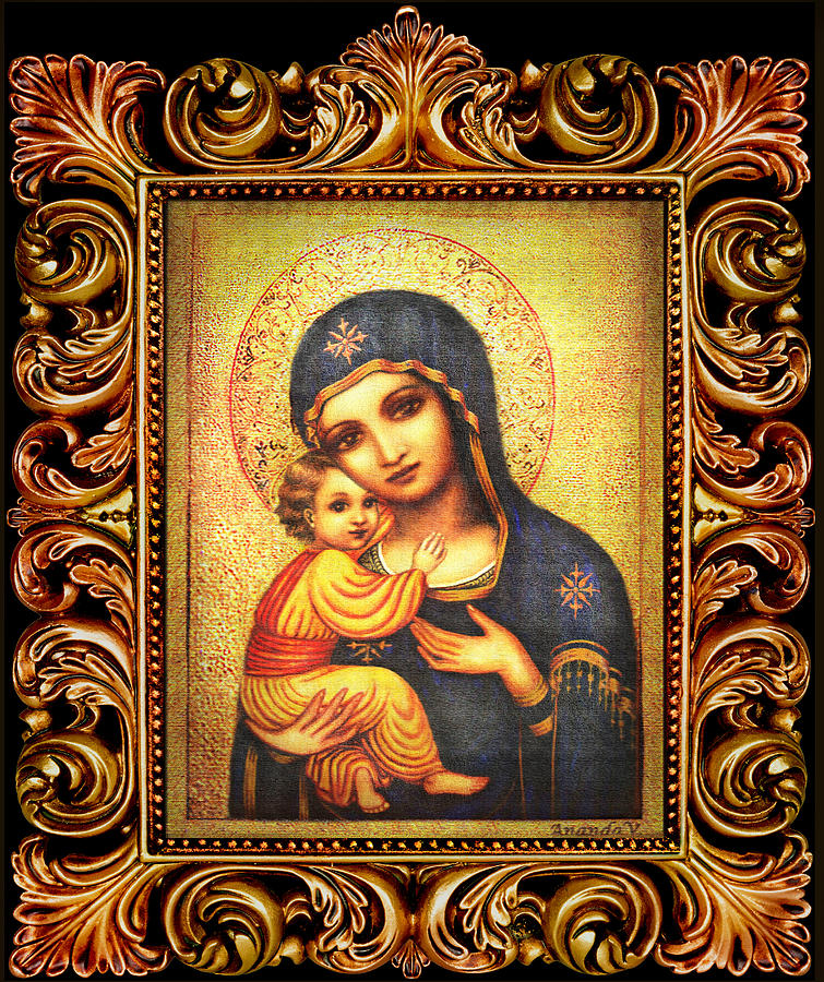 Mary And Jesus Mixed Media - Tryptichon Madonna With Frame by Ananda Vdovic