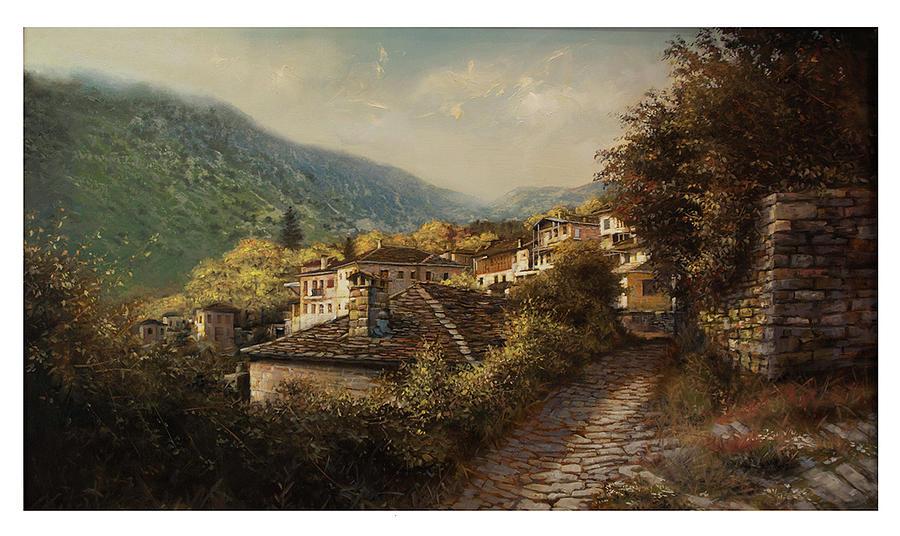 Greece Painting - Tsepelovo Zagoroxoria by Demetrios Vlachos