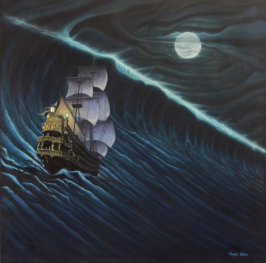 Ship Painting - Tsunami Ship by Angel Ortiz