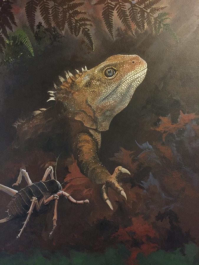Lizard Painting - Tuatara moon worshiper  by Devon Packwood