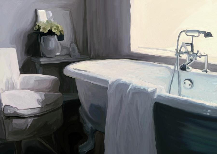 Tub Painting - Tub In Grey by Patti Siehien