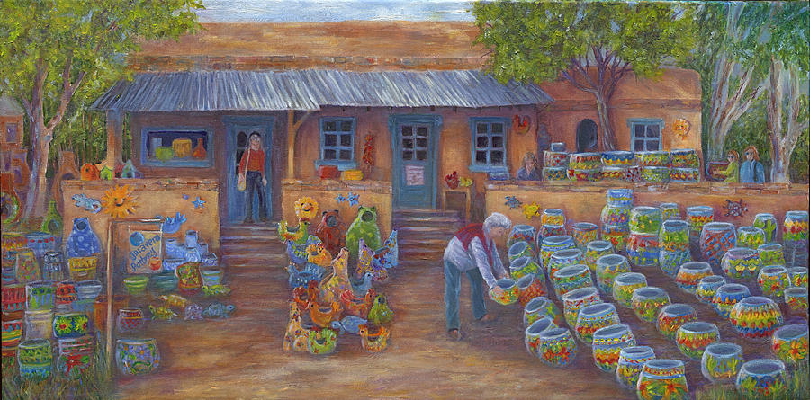 Mexican Pottery Painting - Tubac Pottery Shop by June Hunt