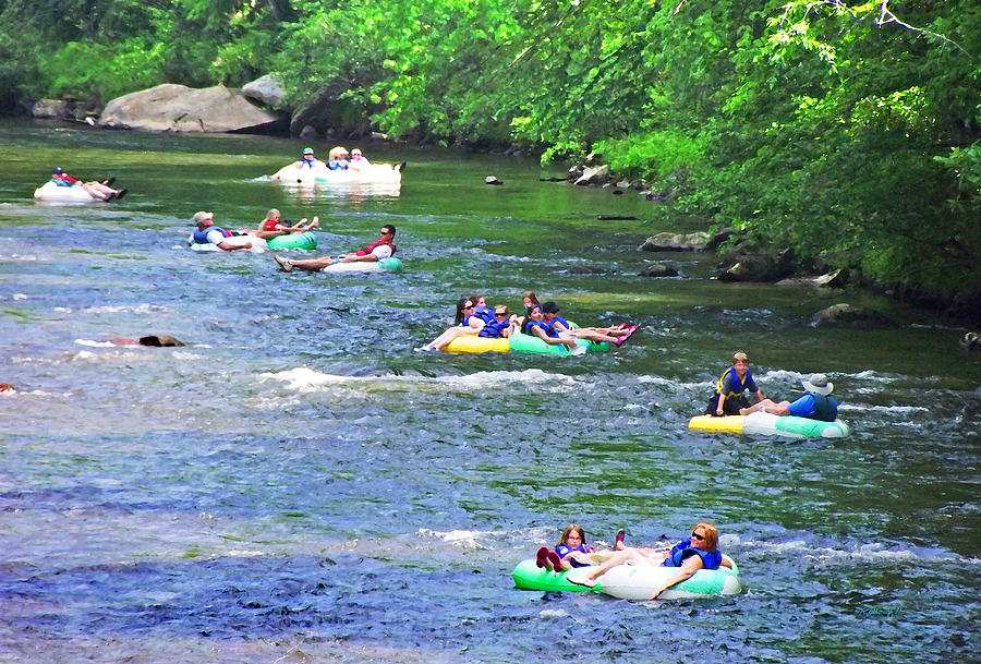 Tubing down the French Broad River by Duane McCullough