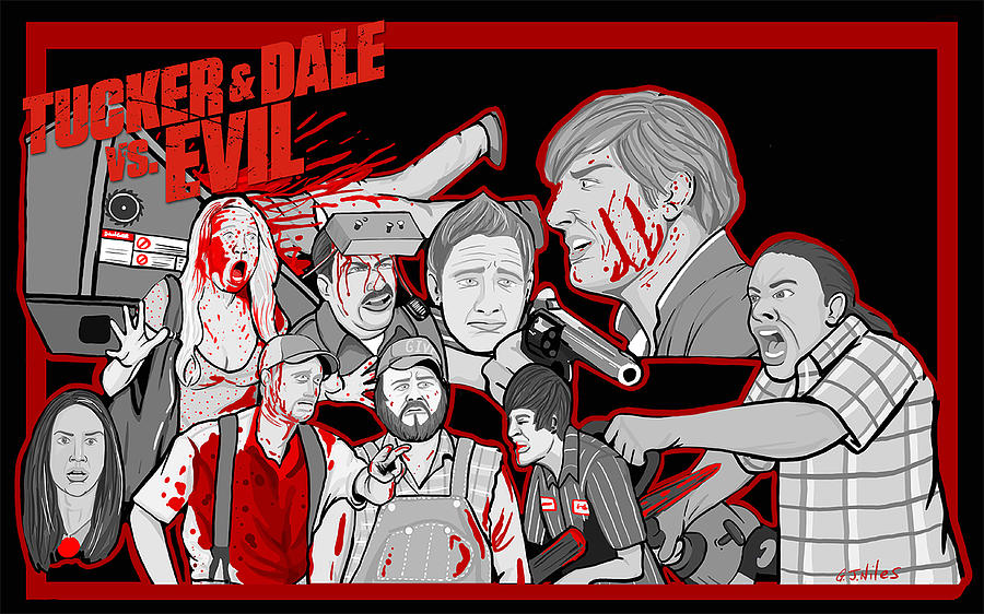 Tucker Painting - Tucker And Dale Vs. Evil by Gary Niles