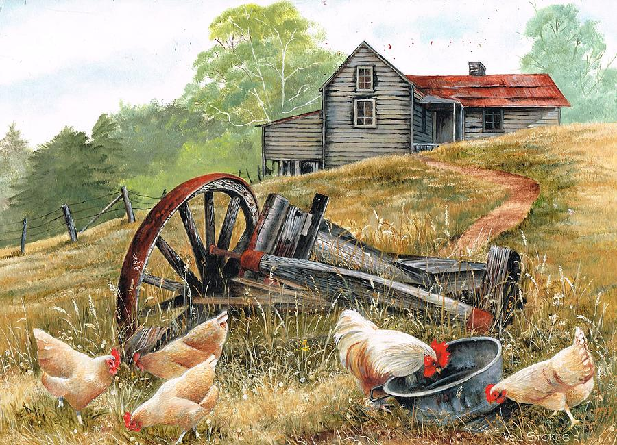 Landscape Painting - Tucker Time by Val Stokes